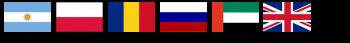 Flags from Argentina, Poland, Romania, Russia, United Arab Emirates, United Kingdom.