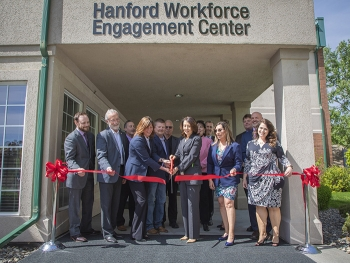 Washington state's congressional delegation, senior DOE officials, union leadership, community leaders, and Hanford workers cut the ceremonial ribbon marking the grand opening of the Hanford Workforce Engagement Center.
