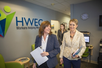 EM Assistant Secretary Anne White tours the newly opened Hanford Workforce Engagement Center with Ashley Morris of EM's Richland Operations Office.