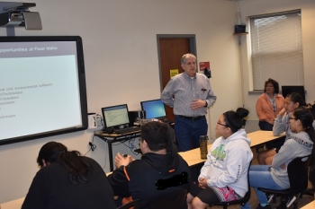 Fluor Idaho President Fred Hughes talks to students in a Fort Hall Junior and Senior High School career opportunity class organized by the Foundation for Indigenous Education, Leadership Development, and Sustainability.