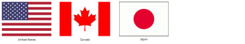 Flags from the United States, Canada and Japan.