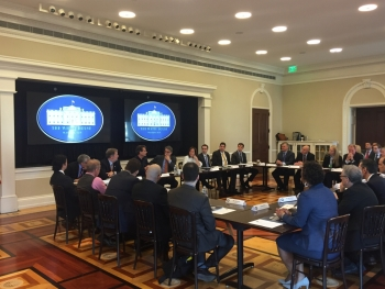Secretary Perry leads a discussion about federal prizes and challenges at the White House.