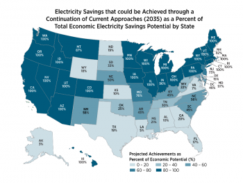 Map shows a comparison of state-level efficiency potential to the savings