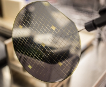 A silicon carbide wafer processed at X-Fab
