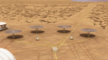 A conceptual drawing of four Kilopower reactors on Mars' surface.