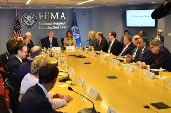 Photo of the President and other participants at the 2018 FEMA hurricane briefing