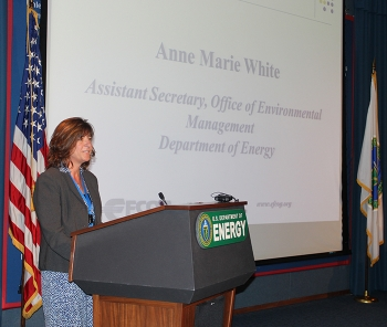 EM Assistant Secretary Anne White addresses members of the Energy Facility Contractors Group during their annual meeting at DOE headquarters last week.