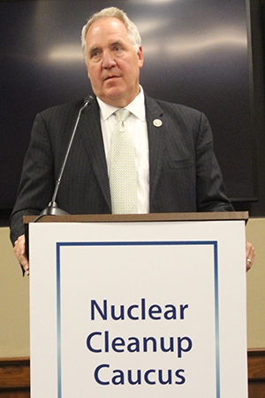 Rep. John Shimkus of Illinois speaks during the House Nuclear Cleanup Caucus event. Shimkus is a member of the caucus.