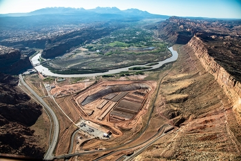Moab Uranium Mill Tailings Remedial Action (UMTRA) project site aerial photo.