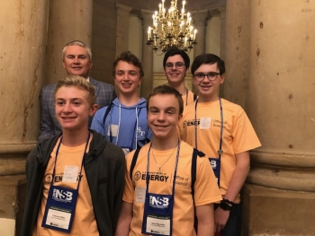 Photograph shows U.S. Congressman James Comer with Lone Oak Middle School students Cameron Willis, Jack Periello, Isaac Reynolds, Reese Bell, and Avery Miller. Not pictured is Coach Susan Midkiff.