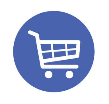 Graphic of a shopping cart.