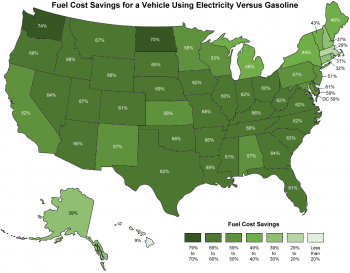 Map of the U.S. showing fuel cost savings for a vehicle using electricity versus gasoline.
