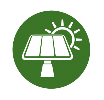 Icon of a solar panel with the sun in the past.
