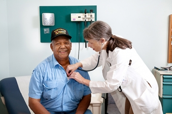 A veteran receives a check-up.