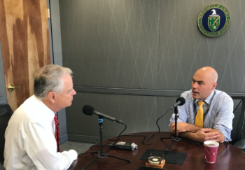 Photo of Bruce J. Walker being interviewed by Columbia Energy Exchange podcast host Bill Loveless