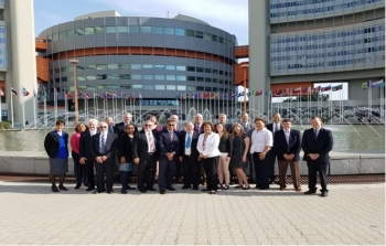 On May 21, 2018, US Delegates to the Sixth Review Meeting of the Contracting Parties of the Joint Convention gather at the Vienna International Center before the peer review sessions.