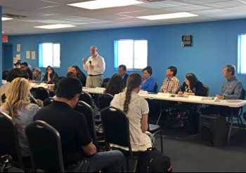 Arizona Congressman Tom O'Halleran addresses attendees at the second annual Uranium Town Hall meeting held May 30.