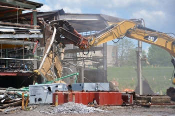 Crews began tearing down Building K-633 in May and completed the project in June.