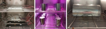 Three photos showing accelerated stress testing of LED products and devices.