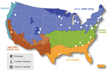 Map shows climates throughout the country.
