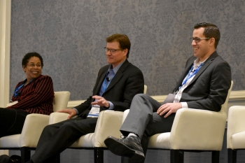 From left, Denise Hill, DOE Senior Technical Advisor; Don O'Sullivan, Los Alamos National Laboratory Deputy Chief Information Officer; and Austin Henderson, NNSA Investment and Project Control Manager discuss CPIC and FITARA reporting.