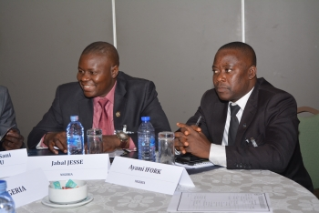 Participants listen and discuss nuclear and radiological security in-depth. From left, Jabal Jesse and Ayami Ifork of Nigeria.