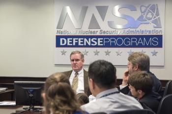 Michael Thompson, NNSA's Assistant Deputy Administrator for Major Modernization Programs, speaks with the 2018 Sandia National Laboratories Weapon Intern Program class.