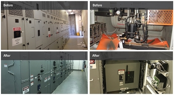 Before and after photos of the K and L areas power distribution system project.