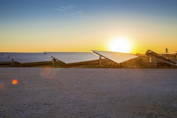 Sunrise at the 2MW CoServ Solar Station in Krugerville, Texas. Photo by Ken Oltmann/CoServ.