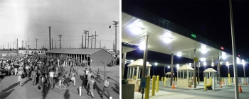 """As pictured in the above left photo, similar structures were also used for """"clock alleys,"""" where construction workers punch their time cards as they enter and leave their areas each day."""