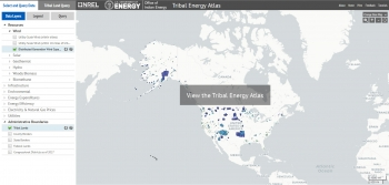 Screenshot of the user-friendly Tribal Energy Atlas tool