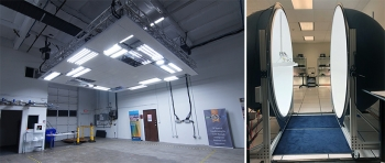 Two photos showing a mockup space with luminaires installed, and laboratory sphere testing of a high-efficacy luminaire.