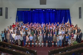 More than 200 students from 33 states began summer internships at Brookhaven Lab on June 4. DOE Under Secretary for Science Paul Dabbar (front row, center right), was among the leaders who welcomed the Lab's summer guests.
