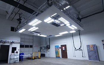 Photo showing a mockup space with LED luminaires installed.