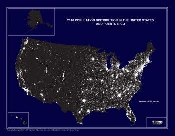 Map showing the 2010 population distribution in the United States and Puerto Rico.