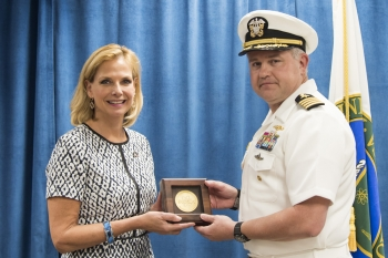 Capt. Owen Travis and NNSA Administrator Lisa E. Gordon-Hagerty