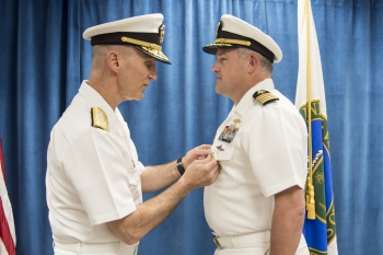 Capt. Owen Travis and Deputy Administrator for Naval Reactors Adm. James Frank Caldwell Jr.