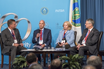 """From left, Peter Fanta, Thomas D'Agostino, Madelyn Creedon, and Vernon Gibson partake in a """"Leadership and Legacy"""" panel discussion at U.S.-U.K. Mutual Defense Agreement 60th Anniversary event."""