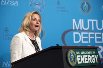 NNSA Administrator Lisa E. Gordon-Hagerty addresses the crowd at U.S.-U.K. Mutual Defense Agreement 60th Anniversary event.