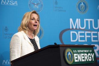 NNSA Administrator Lisa E. Gordon-Hagerty addresses the crowd at U.S.-U.K. Mutual Defense Agreement 60th Anniversary event.