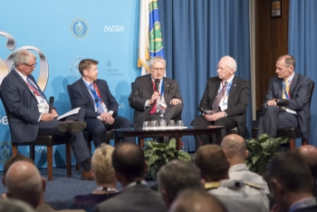 "From left, Wallis Spangler, Terry Wallce, William Goldstein, Stephen Younger, and Iain Coucher partake in a ""Leaders in Science"" panel discussion at U.S.-U.K. Mutual Defense Agreement 60th Anniversary event"