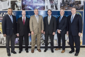 From left, NNSA's Dr. Kevin Greenaugh; Dr. Mark Anderson, LANL; David Clauss, Sandia Deputy Administrator for Defense Programs Phil Calbos; Dr. Jim Rathkopf, LLNL; and Rob Steinhoff, KCNSC.
