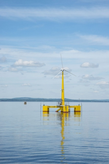 Photo of an offshore wind turbine.