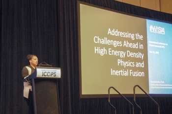 Dr. Njema Frazier speaks at 45th International Conference on Plasma Science.