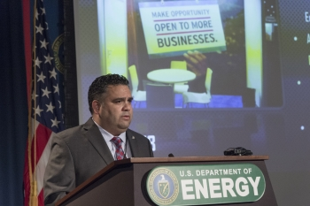 ED Director James E. Campos at a podium