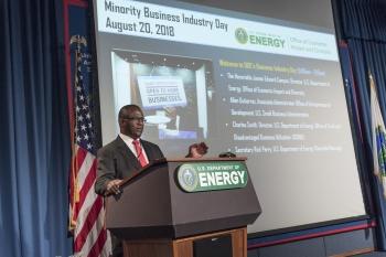 Jim Green, Lead Veteran Small Business Specialist, OSDBU at a podium