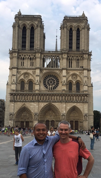 Jose Marcial, left, and his doctoral advisor, Dr. John McCloy, of Washington State University visited Notre Dame Cathedral in Paris after presenting this month at the 15th International Physics of Non-Crystalline Solids conference in St. Malo, France.