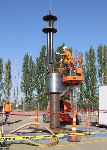 Workers recently tested the equipment for placing engineered grout inside Plutonium Uranium Extraction Plant Tunnel 2.