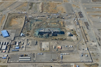 This July 2018 aerial photo shows the partially demolished Main Processing Facility of the Plutonium Finishing Plant at center.