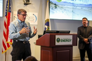 Energy Secretary Rick Perry recently toured the Nevada National Security Site (NNSS) and addressed federal and contractor staff in an all-hands meeting.